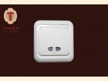 Выключатель  2-х клавишный с подсветкой GUNSAN